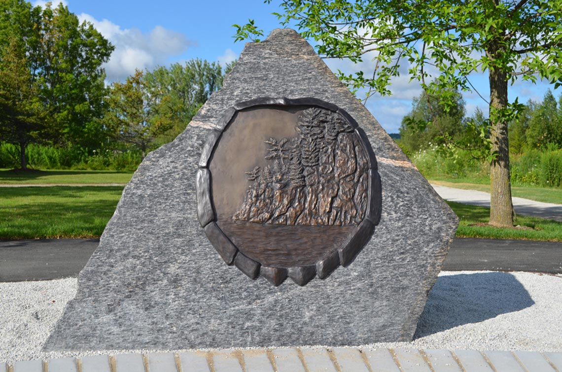Circle of Nations - People of the Rock, Bronze Relief on granite, Penetanguishene, ON