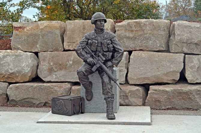 Tyler Fauvelle's latest sculpture created in honour of the thousands of Canadian soldiers who werved in the Afghan war, 158 of whom paid the ultimate sacrifice