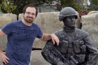Sculptor Tyler Fauvelle with Afghanistan Memorial